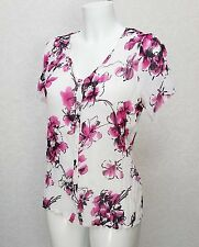 PAPAYA Crinkle white pink floral sheer chiffon short sleeve button top blouse 10