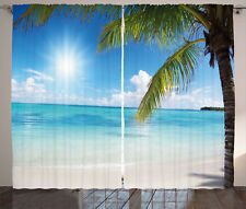 Beach Curtains Tropical Seashore Palms Window Drapes 2 Panel Set 108x84 Inches