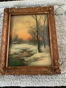 Vintage Gold Wood Frame Convex Bubble Glass Landscape Scene