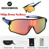 ROCKBROS Polarized Cycling Glasses Sport Sunglasses UV400 Riding Goggles Blue AU