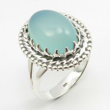 Sterling Silver Oval Cabochon AQUA CHALCEDONY Ring Size 8 Made In India