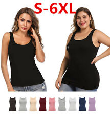 Plus Size Women Camisoles with Built in Bra Tops Layering Tank Top Padded Shirt