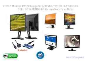 """CHEAP Monitor 19""""  PC Computer LCD VGA TFT FLAT SCREEN DELL HP SAMSUNG LG"""