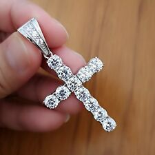 10Ct Diamond Cross Pendant Necklace with Chain 14K White Gold over Women's Men's