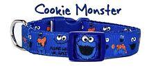 "Cookie Monster dog collar handmade adjustable buckle 1"" or 5/8"" wide or leash"