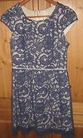 Modcloth Pink Owl Dress Lace Overlay Short Sleeve Mini  Blue size Small EUC