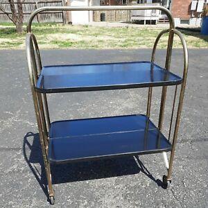 Vtg Metal 2 Tier Rolling Serving Bar Cart Karoff Originals Versatable Art Deco