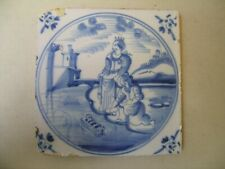 Antique 18th century biblical Delft blue tile (the finding of Moses)