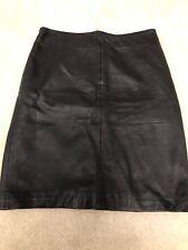 ALLSAINTS BLACK  LEATHER, ZIP BACKED PENCIL SKIRT Size UK 10