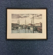 Halvard Storm Norway Artist Art Etching Harbor Scene 1932 Pencil Signed Listed