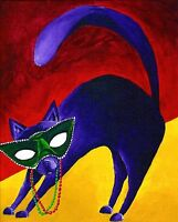 12x16 PURPLE CAT Mardi Gras Colorful Art PRINT of Original Oil Painting by VERN