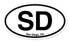 "SD San Diego California Oval car window bumper sticker decal 5"" x 3"""