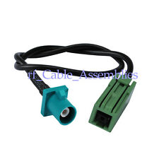 """Fakra plug """"Z"""" straight to GT5-1S green Jack pigtail cable RG174 15cm"""
