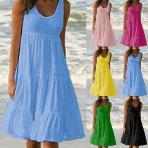 Plus Size Women Sleeveless Solid Vest Dress Ladies Summer Beach Frill Midi Dress