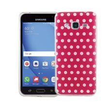 étui de portable pour Samsung Galaxy J3 polka dot rose COQUE PROTECTRICE motif