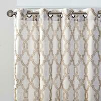 Madison Park Bond Print Modern Linen Window Curtains 1-Panel in Tan/Beige Finish
