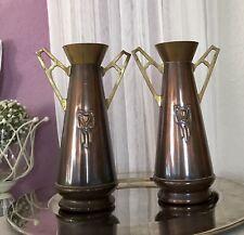 Antik 2x Vase Jugendstil Kupfer Messing Kaminvasen Art Noveau Arts&Crafts