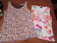 lot 2 Women's size M tank tops Tribal Pink Floral V-Neck & Kim Rogers Brown KM