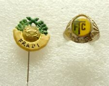 t134 FOOTBALL HUNGARY FTC FERENCZVAROSI TORNA CLUB SUPPORTER BADGE AND RING