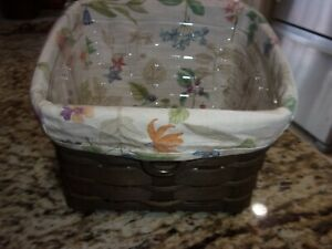 LONGABERGER DADDY CADDY TV TIME BASKET COMBO BOTANICAL LINER AND PROTECTOR