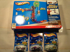 New Hot Wheels Wall Tracks Power Pulley and 3 Hot Wheel Cars all Brand New