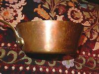 Old Copper & Brass pot brass handl 6.75x3 it's top quality company unicorn logo