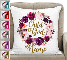 Personalised Child Of God Magic Sequin Mermaid Cushion Cover Six Colour Choices