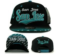 San Jose New SJ Leader Flash Fade Sharks Colors Black Teal Era Snapback Hat Cap