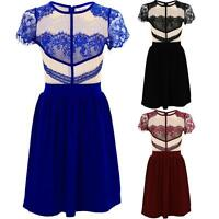 Ladies Cap Sleeve Lace Contrast Mesh Top Women's Frill Skater Party Dress