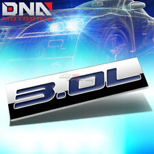 ALUMINUM STICK ON POLISHED CHROME BLUE 3.0L 3.0 L DECAL EMBLEM TRIM BADGE LOGO