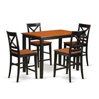 5 Piece Counter Height Dining Table Set-Pub Dining Table & 4 Dining Room Chairs
