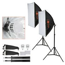 2 LED Softbox Lighting Kit | Portable Continuous Photography Video Studio Lights