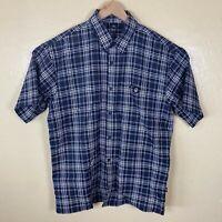 Lowrider Button Up Shirt Mens Medium Gray White Plaid Short Sleeve