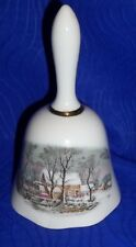 Avon Representative Award Currier & Ives Winter Scene Porcelain Bell 1978