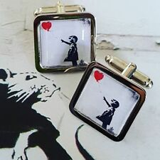 Unique! BANKSY CUFFLINKS chrome GIRL WITH A BALLOON red STENCIL ART graffiti