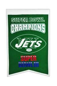 """NEW YORK JETS SUPER BOWL III CHAMPIONS EMBROIDERED WOOL BANNER 14""""X22"""""""