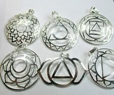 7 CHAKRA Pendants Full Set Charm Silver 40mm Round Pagan Wicca Reiki Healing