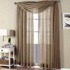 Abri Rod Pocket Crushed Sheer Window Curtain Panels or Scarf, Beautiful Decor