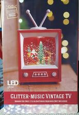Christmas Festive TV  Antique & Glitter Globe light up NEW decoration ornament