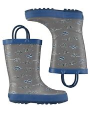 OshKosh B'gosh Toddler Boy's Dino Rain Boots - Gray 8 NWT
