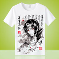 Anime Uchiha Itachi Unisex  White Otaku Casual T-shirt Tops Tee Short Sleeve