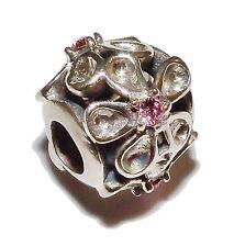 """Pre-owned genuino chamilia de plata y rosa deslumbrante joya Set """"Daisy"""" Bead - #4"""