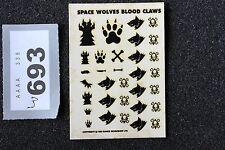 Games Workshop WARHAMMER 40k Space Wolves trasferimento Fogli di decalcomanie NUOVO SANGUE Artigli