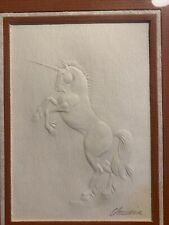 Curtis Swann Embossed Unicorn 1978 Made In USA Signed Framed Wall Art