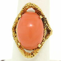 Vintage 18k Yellow Gold Large Cabochon FINE Coral Nugget Textured Solitaire Ring