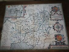 1610 COLOUR MAP OF CAERMARDEN BY JOHN SPEEDE & HONDIUS CARMARTHEN WALES SPEED  *