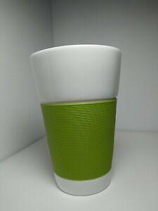 BODUM 16 oz Green Silicone Grip Sleeve Bistro Coffee Tea Mug White Porcelain
