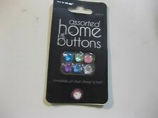 NEW Hype Assorted Apple Home Buttons-Multi Jewel 6 Pack FREE SHIPPING