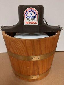 Rival Electric Ice Cream & Yogurt Freezer, #8550, Wood Bucket, 5 Qt Made in USA