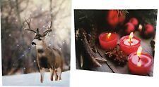 LED Bild Hirsch und Kerzen mit LED Beleuchtung Wandbild 2-Teilig